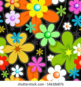 Seamless Stylish Floral Pattern. Mix of Colorful Flowers on Black. Background for Textile Design