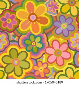 Seamless Stylish Floral Pattern. Mix of Colorful Flowers. Vector Background for Textile Design
