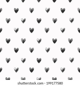 Seamless stylish pattern with black hearts. Vector illustration