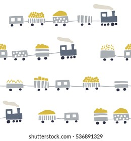 Seamless stylish pattern with trains