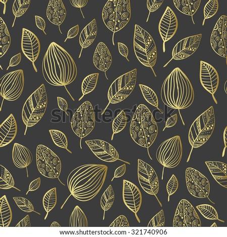 seamless stylized leaf pattern seamless decorative stock vector