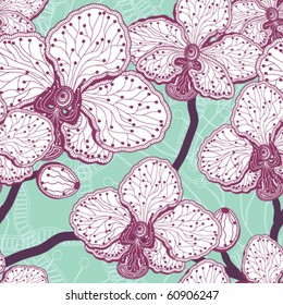 Seamless stylized orchid flower pattern