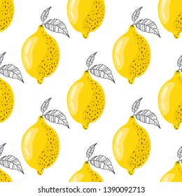 Seamless, stylized pattern with lemons on a white background. Juicy and ripe fruits of yellow color. Modern design of textiles, print, wrapping paper, banner, poster. Vector illustration.