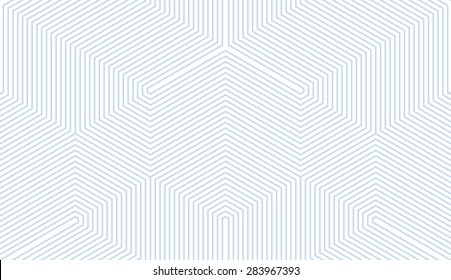 Seamless subtle blue and white vintage trilateral op art lines pattern vector