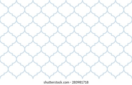 Seamless subtle blue and white wide moroccan pattern vector