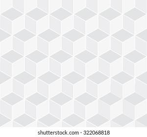 Seamless subtle gray isometric cube illusion with outline pattern vector