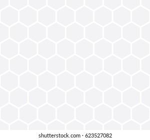 Seamless subtle gray isometric hexagonal outline basic pattern vector
