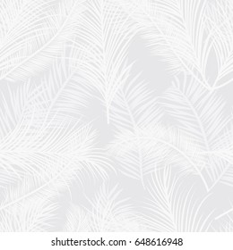 Seamless subtle gray palm tree leaves pattern vector