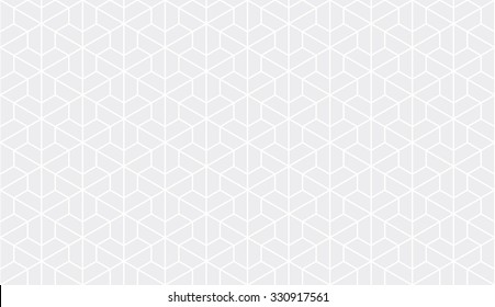 Seamless subtle gray trilateral outline isometric hexagonal pattern vector