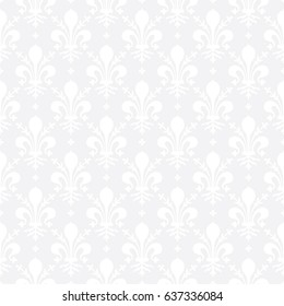 Seamless subtle gray vintage ornate French royal Fleur de lis pattern vector