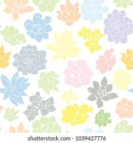 Seamless Succulent Pastel Pattern