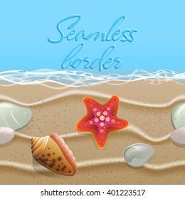 Seamless summer border. Golden sand with seashells, starfish and pebbles. Beach vector pattern.