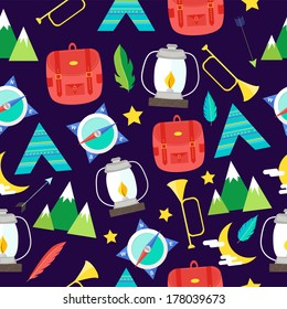 Seamless summer camp  and outdoor pattern
