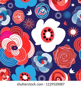 Seamless summer floral pattern of roses on a dark background. Template for design.