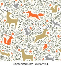 Seamless summer floral pattern with wild animals