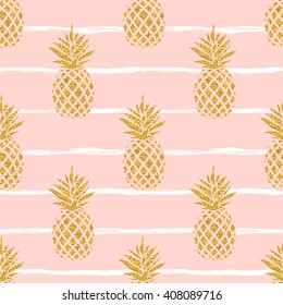Seamless summer gold pineapple on striped background.