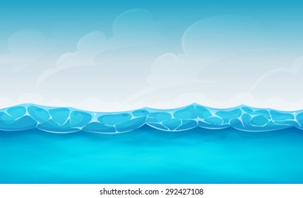 Seamless Summer Ocean Background For Ui Game/ Illustration of cartoon wide seamless water waves and ocean patterns, for summer holidays vacations landscape, or repetitive background for ui game