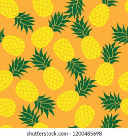 Seamless summer Orange color pineapple on colored background. Seamless pattern in vector. Fruit illustration