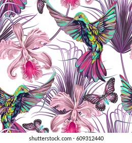 Seamless summer pattern background with hummingbirds flying, palm leaves, tropical flowers, orchid, butterflies. Vector exotic illustration wallpaper