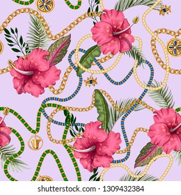 Seamless summer pattern with belts, chains and tropical leaves and flowers. Trendy fashion print