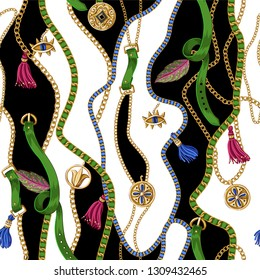 Seamless summer pattern with belts, chains and tropical leaves . Trendy fashion print