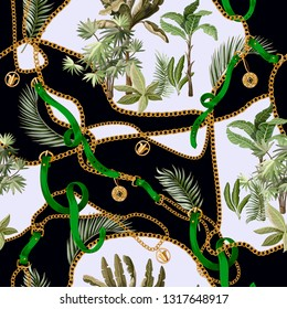 Seamless summer pattern with belts, chains and tropical leaves and trees. Trendy fashion print