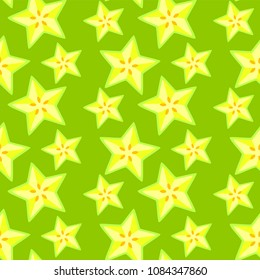 Seamless summer pattern with carambola fruit.