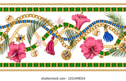 Seamless summer pattern with chains and tropical leaves and flowers. Trendy fashion print