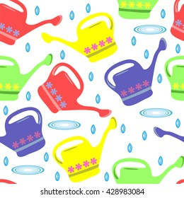Seamless summer pattern with colorful watering can. Vector illustration.
