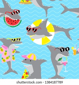 Seamless summer pattern with cool sharks in sunglasses