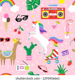 Seamless summer pattern with cute funny animals and plants
