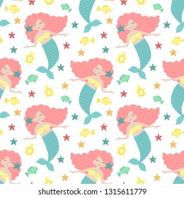 Seamless summer pattern with cute mermaids with pink hair and blue tail. Vector sea illustration for baby, holiday, background, print, clothes, girl, birthday. Marine image of mermaid, fish and turtle