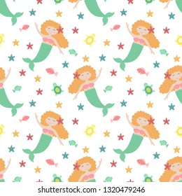 Seamless summer pattern with cute mermaids with red hair and green tail. Vector sea illustration for baby, holiday, background, print, clothes, girl, birthday. Marine image of mermaid, fish and turtle