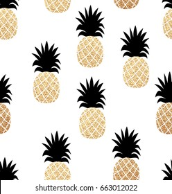 Seamless summer pattern with gold pineapples texture.