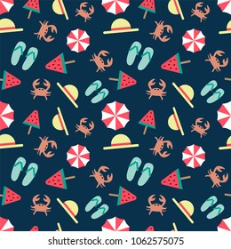 seamless summer pattern on a dark background