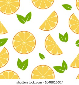 Seamless summer pattern with orange slices and leaves. Vector texture illustration.