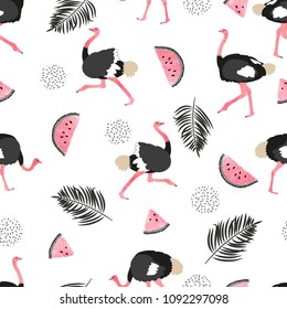 Seamless summer pattern with ostrich, watermelon slices and palm leaves. Vector trendy background.