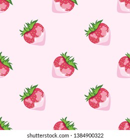 Seamless summer pattern of ripe strawberries with cream in pink shades on a gentle pink background. Wrapping paper, textile design, banner