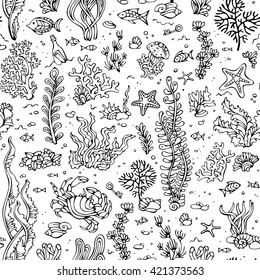 Seamless Summer Pattern Of Sealife Vector Cartoon Outlined Illustration Various Black Contours Shell