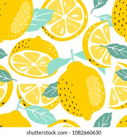Seamless summer pattern with slices and whole lemons. Vector illustration.