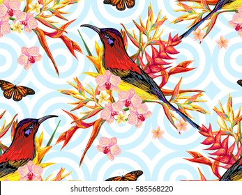 Seamless summer tropical pattern with birds, butterflies and exotic flowers vector background. Perfect for wallpapers, pattern fills, web page backgrounds, surface textures, textile