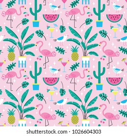 Seamless summer tropical pattern with cute flamingos and plants