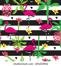 Seamless summer tropical pattern with flamingo, palm tree, flower and pineapple vector illustration