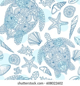 Seamless summer underwater pattern. Various shell, algae, starfish, coral, turtle on white dotted background. Vector illustration.