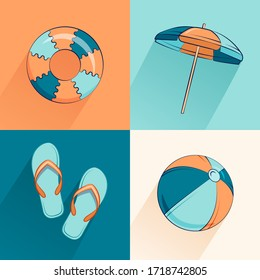 Seamless summer vector pattern. Beautiful background with beach accessories and a bouncy ball and a circle, umbrella, slippers, ball .