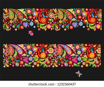 Seamless summery floral ethnic borders with colorful abstract flowers and funny butterflies on black background