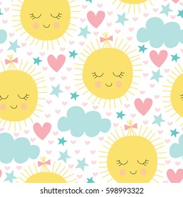 seamless sun and clouds pattern vector illustration