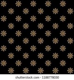 Seamless sun flowers pattern vector.  Design gradient gold on black.  Design print for textile, wallpaper, background. Set 7