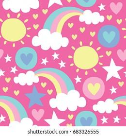 seamless sun and rainbow pattern vector illustration