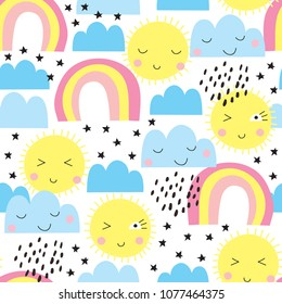 seamless sun, rainbows and clouds pattern vector illustration